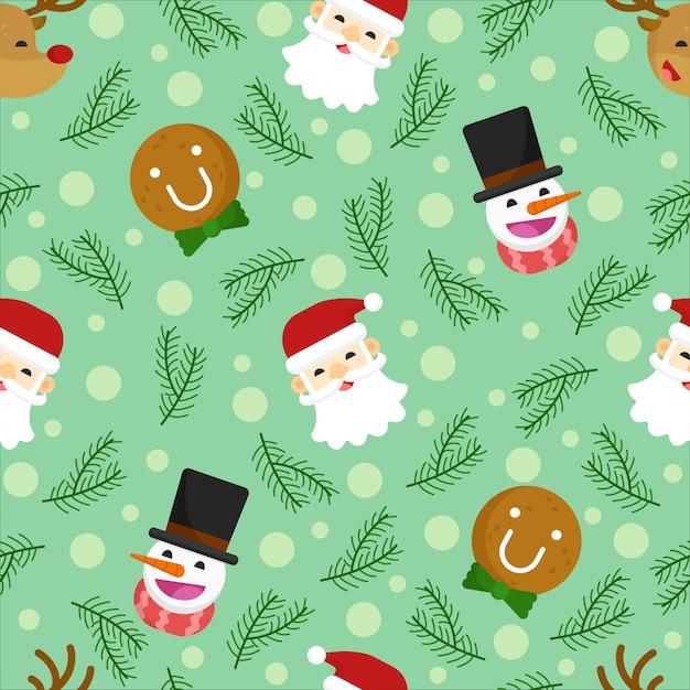 Vrolijk kerst naadloos patroon, herten, kerstman, sneeuwman, flat ontwerp. Premium Vector
