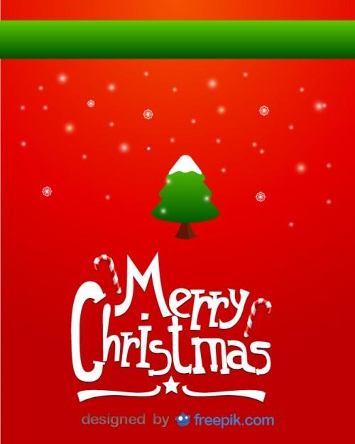 Vrolijk kerst wenskaart van besneeuwde kerstboom en sneeuwvlokken Gratis Vector