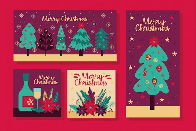 Vrolijk kerstbundel van kaarten vector illustratie ontwerp Gratis Vector