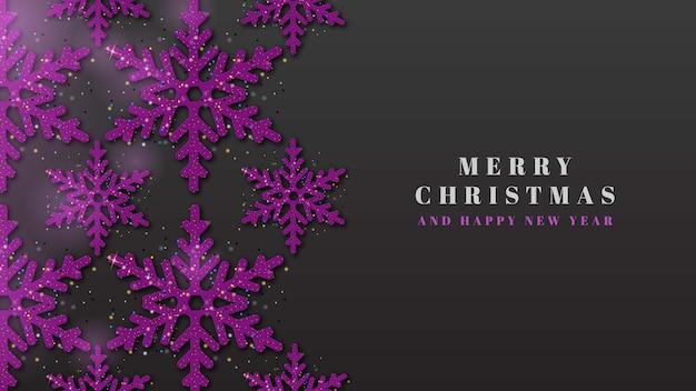 Vrolijk kerstfeest 3d paarse sneeuwvlok achtergrond Premium Vector