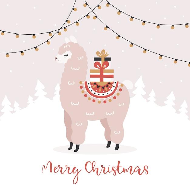 Vrolijk kerstfeest, alpaca met geschenkdozen. Premium Vector