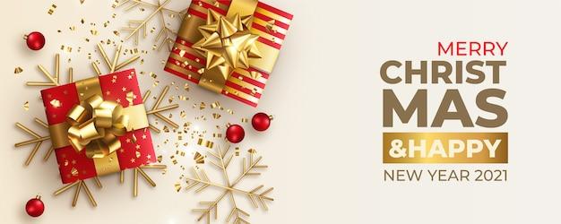 Vrolijk kerstfeest banner Gratis Vector