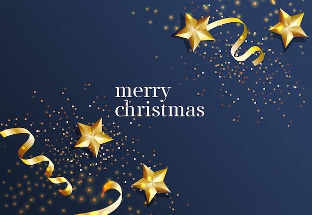 Vrolijk kerstfeest belettering met gouden sterren en linten Gratis Vector