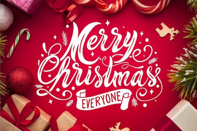 Vrolijk kerstfeest belettering Gratis Vector