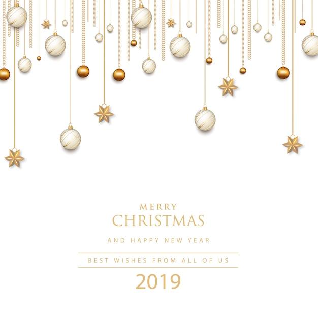 Vrolijk kerstfeest en een gelukkig nieuwjaar. 2019 Premium Vector