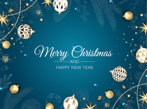 Vrolijk kerstfeest en een gelukkig nieuwjaar. xmas achtergrond met kerstboom, sneeuwvlokken, ster en ballen. wenskaart, vakantiebanner, webposter Premium Vector