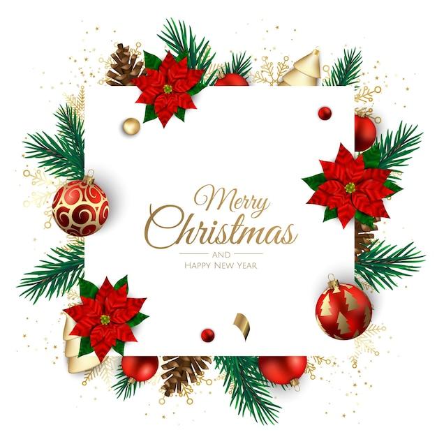 Vrolijk kerstfeest en een gelukkig nieuwjaar. xmas achtergrond met poinsettia, sneeuwvlokken, ster en ballen. wenskaart, vakantiebanner, webposter Premium Vector