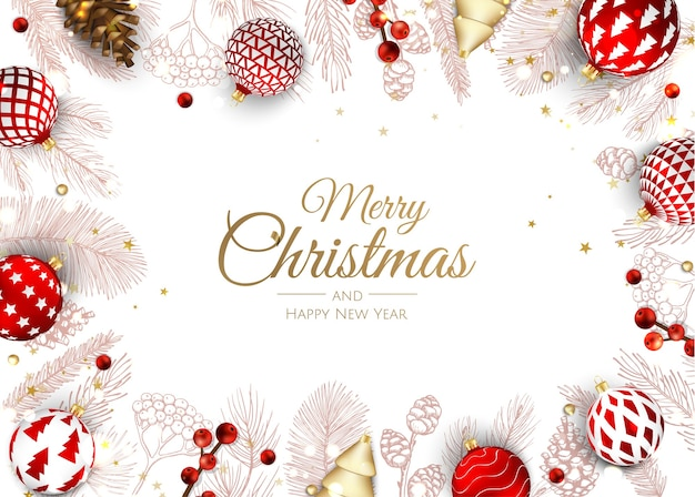 Vrolijk kerstfeest en een gelukkig nieuwjaar. Premium Vector