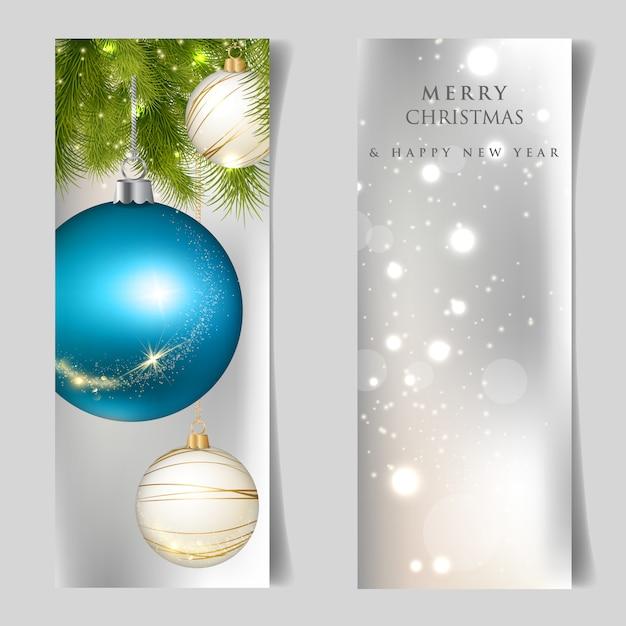 Vrolijk kerstfeest en een gelukkig nieuwjaarskaart Premium Vector