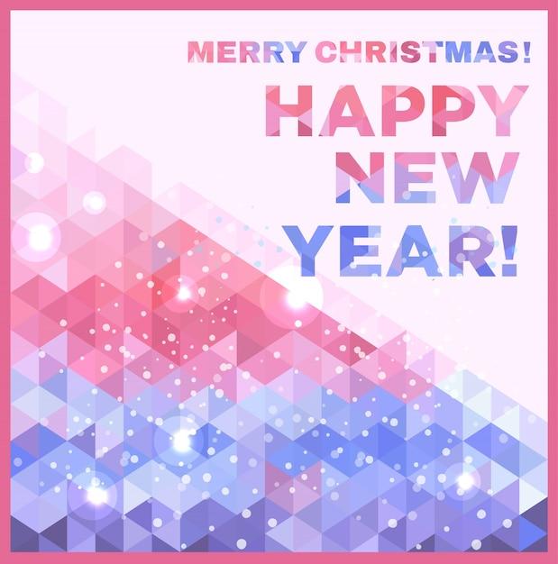 Vrolijk kerstfeest en een gelukkig nieuwjaarskaartje Gratis Vector