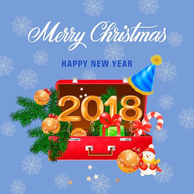 Vrolijk kerstfeest en gelukkig Nieuwjaar belettering Vector