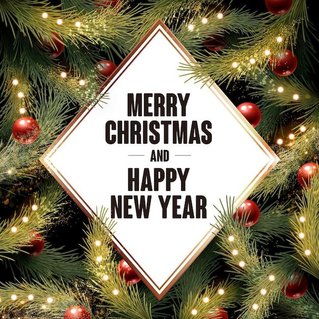 Vrolijk kerstfeest en gelukkig nieuwjaar geschreven in een witte diamant Premium Vector