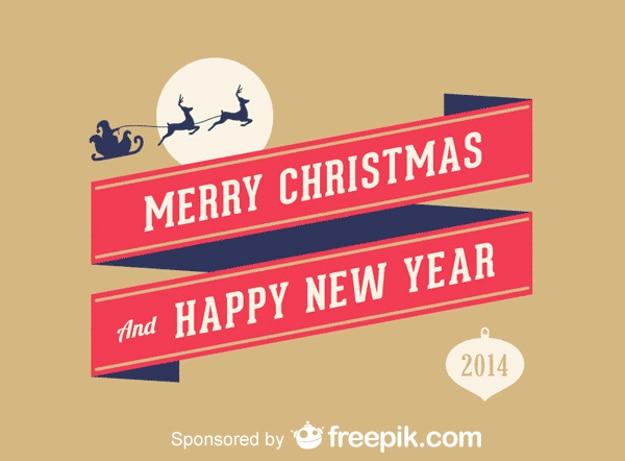 Vrolijk kerstfeest en gelukkig nieuwjaar Gratis Vector