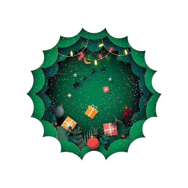 Vrolijk kerstfeest en winterseizoen op groene achtergrond versierd met geschenkdoos en kerstman in slee. Premium Vector
