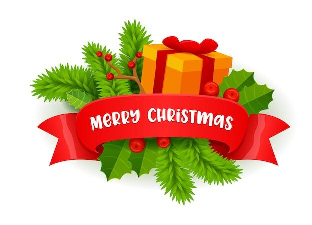 Vrolijk kerstfeest feestelijk decor met dennentakken, hulstbessen en geschenkdoos omwikkeld met rood lint met typografie. Premium Vector