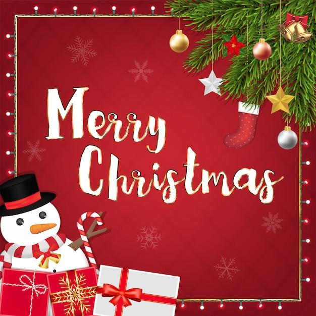Vrolijk kerstfeest feestelijke decoratie banner Premium Vector