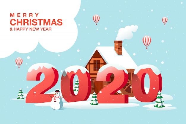 Vrolijk kerstfeest, gelukkig nieuwjaar 2020, woonplaats, winter Premium Vector