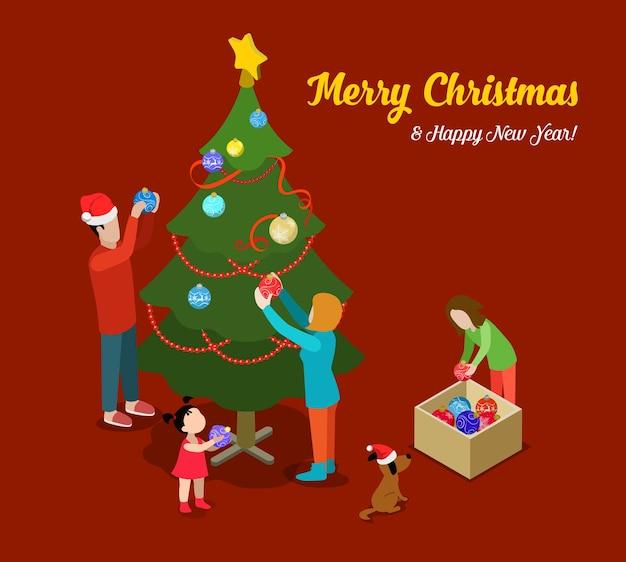Vrolijk kerstfeest gelukkig nieuwjaar platte isometrie isometrisch concept web infographics folder flyer kaart briefkaartsjabloon sparrenboom familie decoratie creatieve wintervakantie collectie Gratis Vector