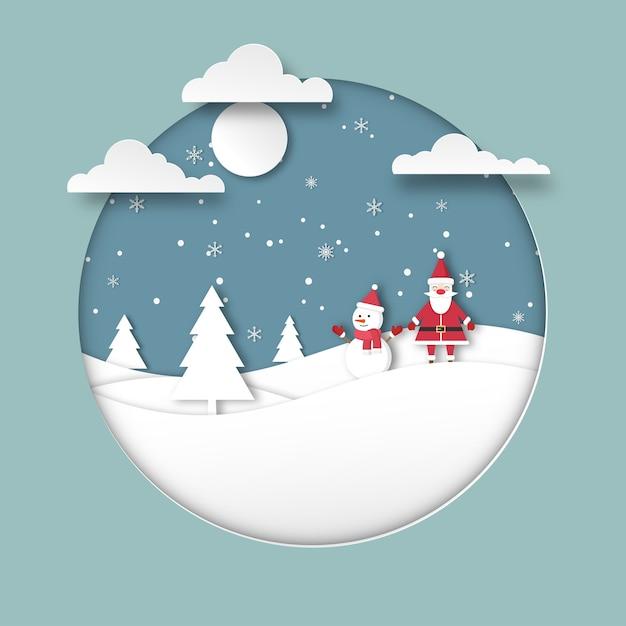 Vrolijk kerstfeest. gelukkig nieuwjaar wenskaart. het vakantieseizoen van de kerstman met een schattige sneeuwpop op de heuvels en sneeuwvlokken. papier gesneden stijl Premium Vector