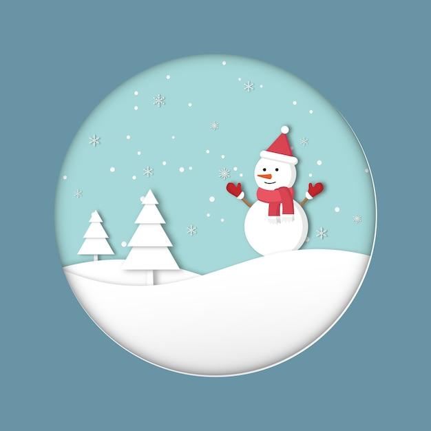Vrolijk kerstfeest. gelukkig nieuwjaar wenskaart. het vakantieseizoen van de schattige sneeuwman op de heuvels en sneeuwvlokken. vector papier gesneden stijl. Premium Vector
