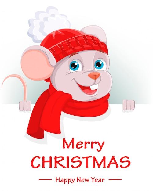 Vrolijk kerstfeest, grappige cartoon karakter muis Premium Vector