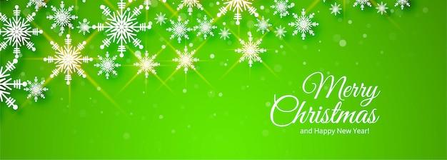 Vrolijk kerstfeest groene banner Gratis Vector