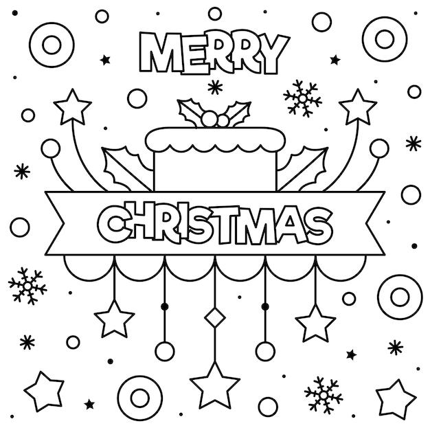 Vrolijk Kerstfeest Kleurplaat Vector Premium Download