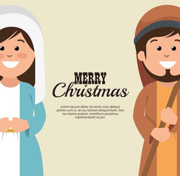 Vrolijk kerstfeest mary joseph cartoon Gratis Vector