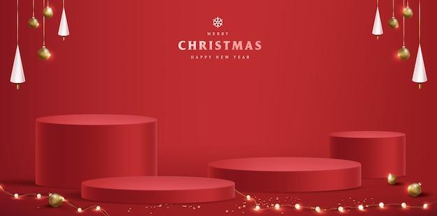 Vrolijk kerstfeest met de cilindrische vorm van het product Premium Vector