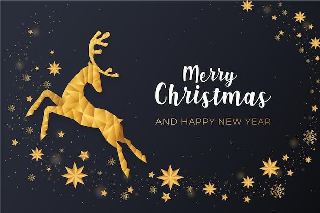 Vrolijk kerstfeest met gouden rendieren Gratis Vector