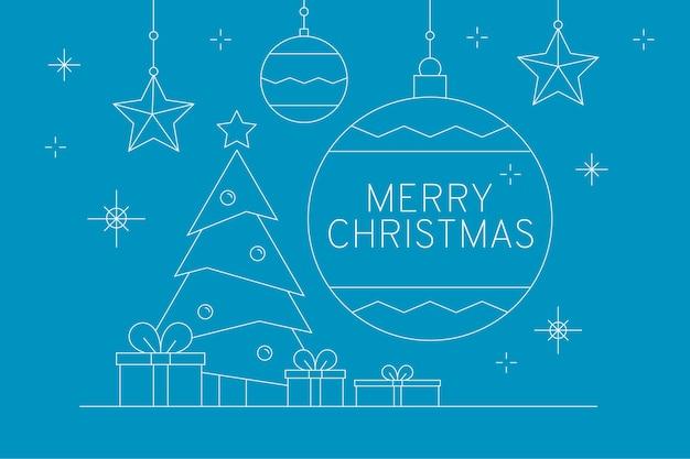 Vrolijk kerstfeest met grote kerstbal en geschenken Gratis Vector