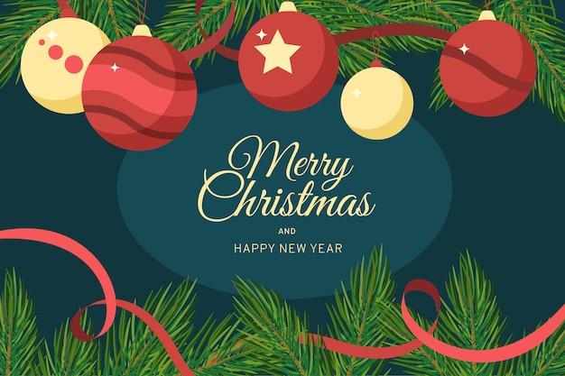 Vrolijk kerstfeest met hangende ballen en lint Gratis Vector