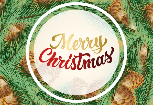 Vrolijk kerstfeest met kegels en fir tree ontwerp van de banner Gratis Vector