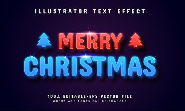 Vrolijk kerstfeest neon stijl teksteffect Premium Vector