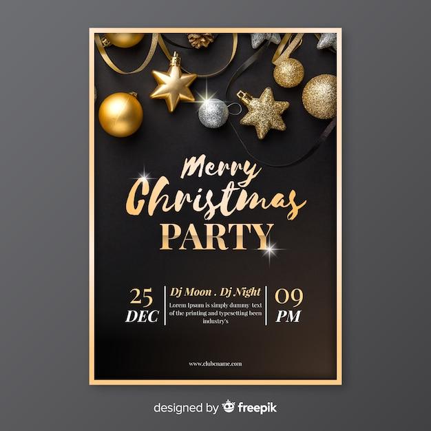 Vrolijk kerstfeest poster sjabloon met foto Gratis Vector