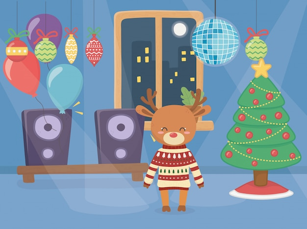 Vrolijk kerstfeest schattig rendier dragen trui in het feest Premium Vector