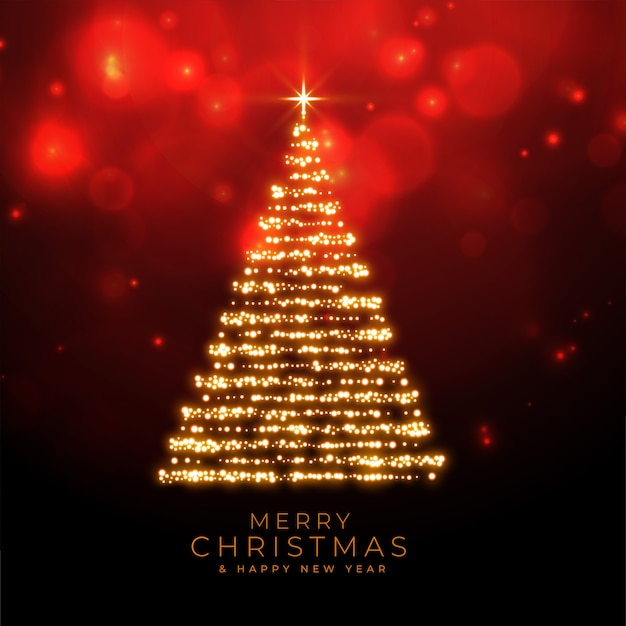 Vrolijk kerstfeest schittert boom op rode bokeh achtergrond Gratis Vector