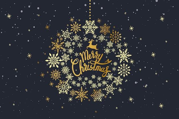 Vrolijk kerstfeest typografieontwerp Gratis Vector