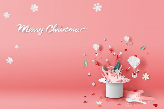 Vrolijk kerstfeest van vuur en vuurwerk in hoed Premium Vector