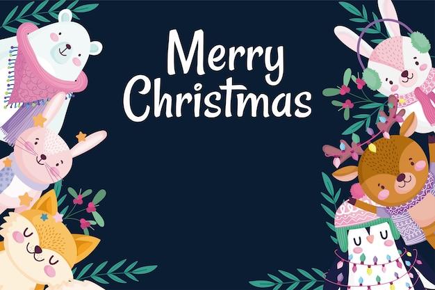 Vrolijk kerstfeest, wenskaart konijn beer pinguïn herten en vos holly berry frame Premium Vector