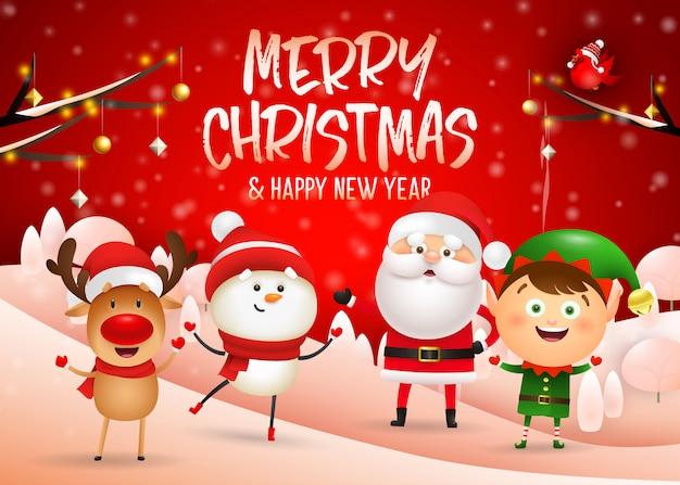 Vrolijk kerstmisontwerp op rode de winterachtergrond Gratis Vector
