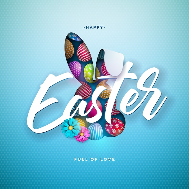 Vrolijk pasen illustratie met kleurrijke beschilderde eieren en konijnenoren Gratis Vector