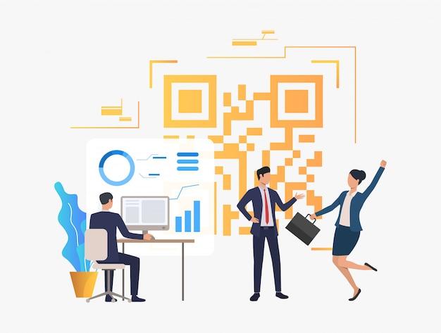 Vrolijke bedrijfsmensen in bureau, financiële gegevens en qr-code Gratis Vector