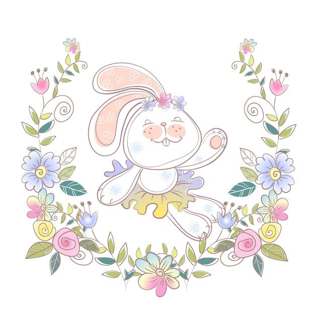 Vrolijke bunny-ballerina in een bloemenkrans. Premium Vector