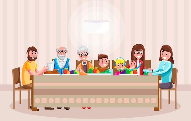 Vrolijke cartoonfamilie die diner heeft Premium Vector