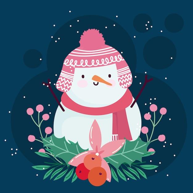 Vrolijke de bloemendecoratie van de kerstmis leuke sneeuwman Premium Vector