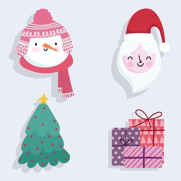 Vrolijke de sneeuwmangiften van kerstmis leuke santa en boompictogrammen Premium Vector