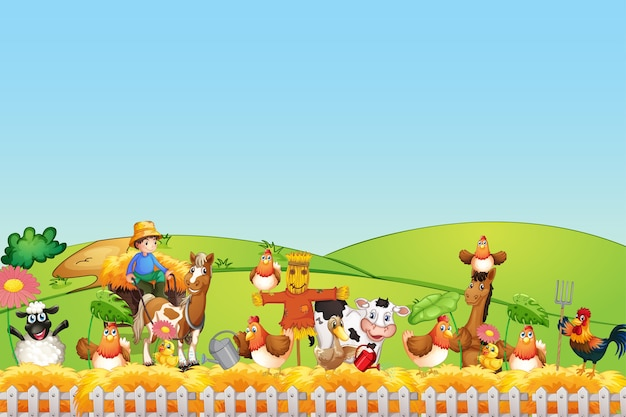 Vrolijke dieren op de boerderij Gratis Vector