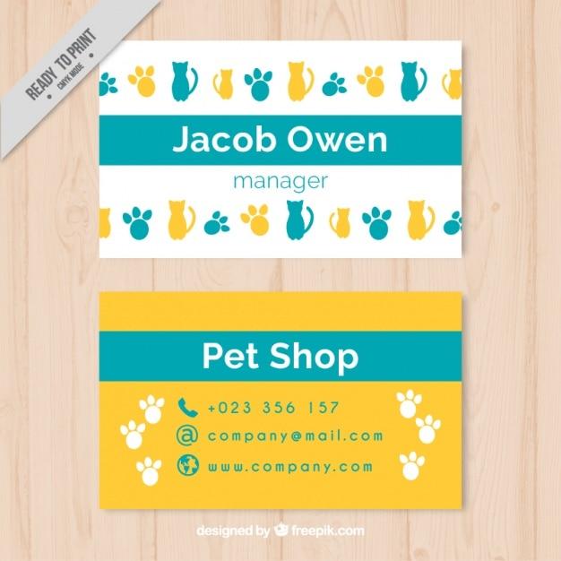 Vrolijke dierenwinkel kaart met vingerafdrukken en katten Gratis Vector