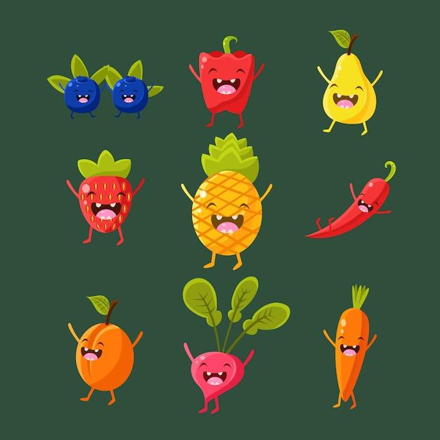 Vrolijke fruit en groentenillustratiereeks Premium Vector